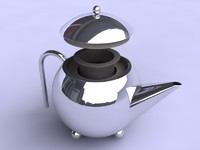 modern teapot chrome 3d 3ds