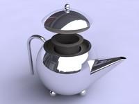 modern teapot chrome 3d 3ds