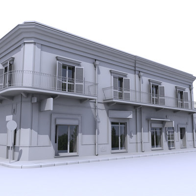 3d model of building architectural building 001 untextured by