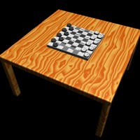 3d model of checkers board wood