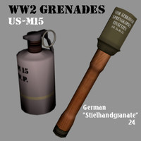 stielhandgranate grenade 3d 3ds