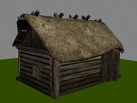 3d log hut model