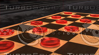 3d red checker piece model