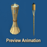 3D Tiki Torches Model