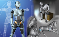 male robot android horse 3d model