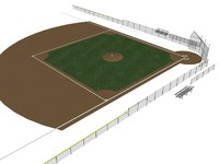 3d model accurate 300 foot baseball field