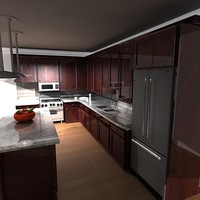3d kitchen living room model