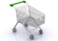 3d supermarket shopping trolley