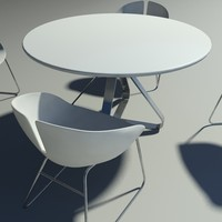 fjord armchair table stainless 3d model