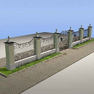 3d model iron gate for Luxury fences
