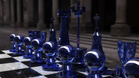 white chess set 3d model