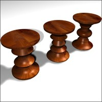 eames walnut stools 3d model