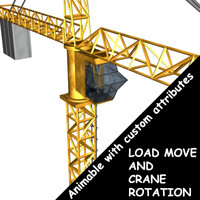 3d crane animable custom model
