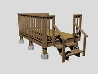 3d model small wood porch