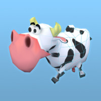 stylize low poly cartoon cow