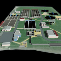 3d model industrial sewage treatment plant