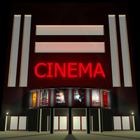3d theater building movie model