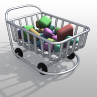 maya cartoon shopping cart