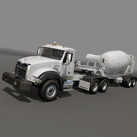 Truck with concrete mixer trailer
