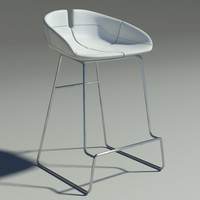 3d fjord bar stool white model