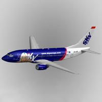 3dsmax b737-300 skyeurope aircraft