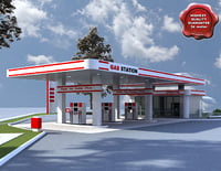gas station v10 3d obj
