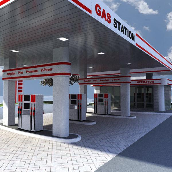gas station v10 3d obj