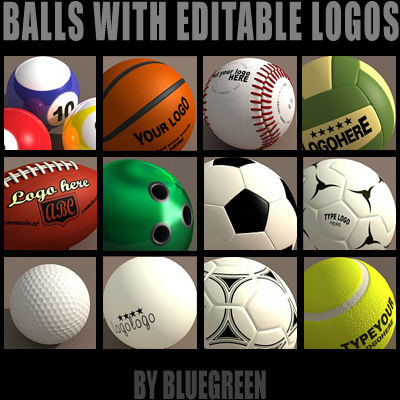 Sport Balls With Psd Logos