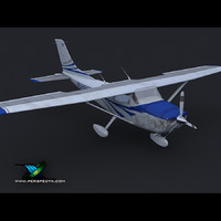 3d model of small single prop plane