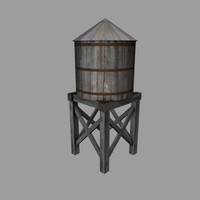 3d model of wooden water tank