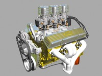 3x2 stromberg chevrolet v8 engine 3ds