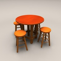 circle wood table stools 3d 3ds
