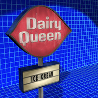 3d model dairy queen sign 01