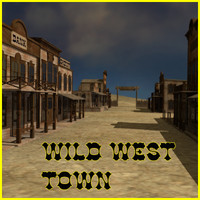 3d western town houses model