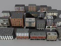 17 low poly buildings