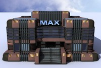 art deco building theater 3d model