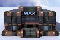 art deco building theater 3d model