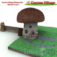 3d model gnome watermill fantasy village