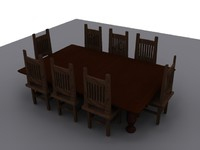 table big chairs 3d model