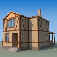 3d model of low-poly house