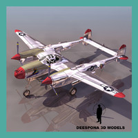 3d model p38 j-l lightning fighter