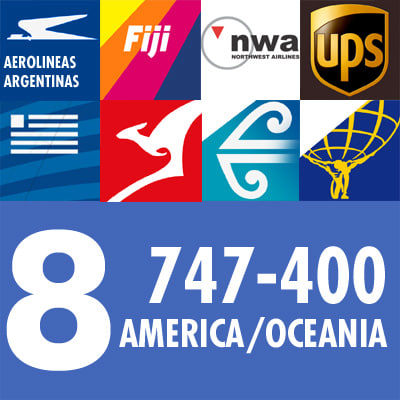 747-400 Collection. Eight American & Oceania Airlines