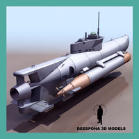 3d model seehund german midget submarine