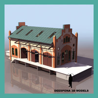 3d hardware train storage building model