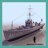 3d model anti-submarine chaser ship navy