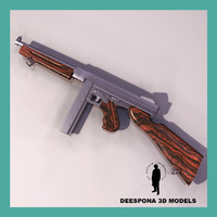 thompson submachine gun wwii 3d model