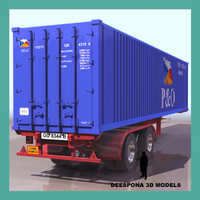 3d long container truck trailer