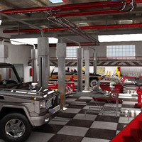 3d automobile service station model