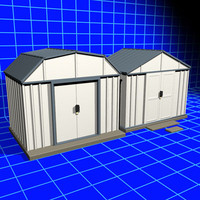 3d metal shed 01 storage model