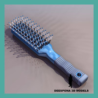 hairbrush plastic hair brush 3d model